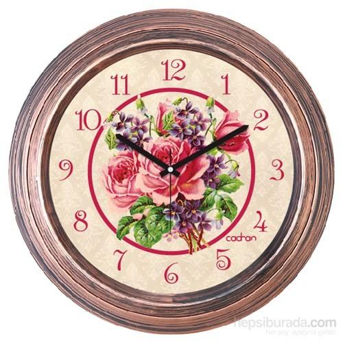 Cadran 1108-23 Dekoratif Vintage Duvar Saati Bakır Çiçekler-2