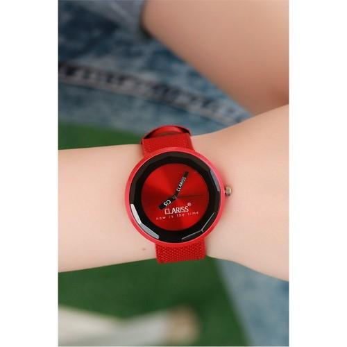 Morvizyon Clariss Marka Kırmızı Kumaş Kordonlu Bayan Saat
