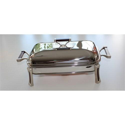 Mat Steel Dikdörtgen Küçük Mum Isıtıcılı Servis Seti
