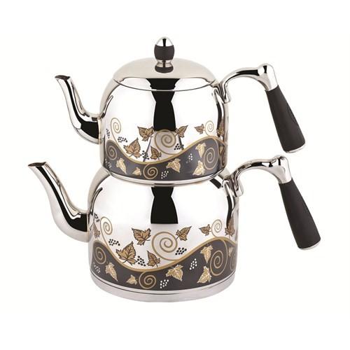 Özkent K-388 Armine Desenli Mega Çaydanlık Siyah