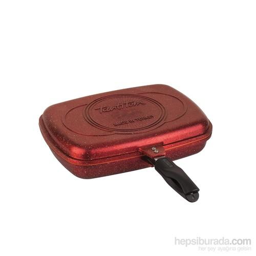 Tantitoni Granit Kırmızı Çift Taraflı Çok Amaçlı Izgara Tavası