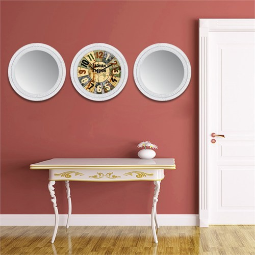 Cadran Home 2'Li Ayna Ve Duvar Saati Set Chas33