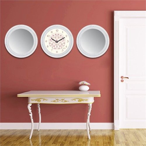 Cadran Home 2'Li Ayna Ve Duvar Saati Set Chas43