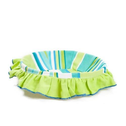 Yastıkminder Fıstık Mavi Çizgili Ekmek Sepeti