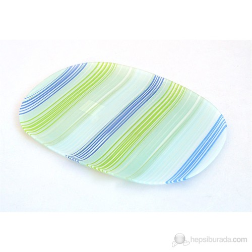 Lumınarc Carina Stripes - Blue Oval Servis Tabağı