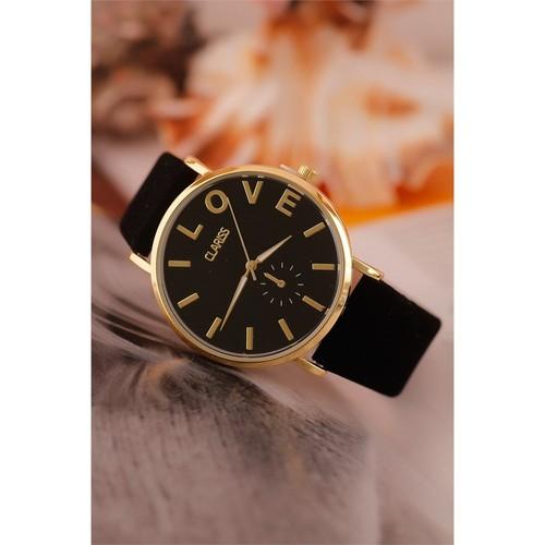 Morvizyon Clariss Marka Siyah Süet Deri Kordon Tasarımlı İç Detayı Love Yazılı Bayan Saat