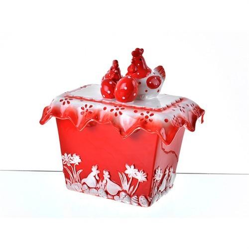 Lucky Art Horozlu Kırmızı Büyük Kare Kavanoz - Lymy 008