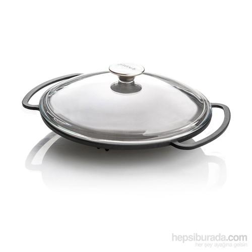 Silver Ahşap Altlıklı Ve Cam Kapaklı Döküm Saç Kavurma Tavası 36 Cm