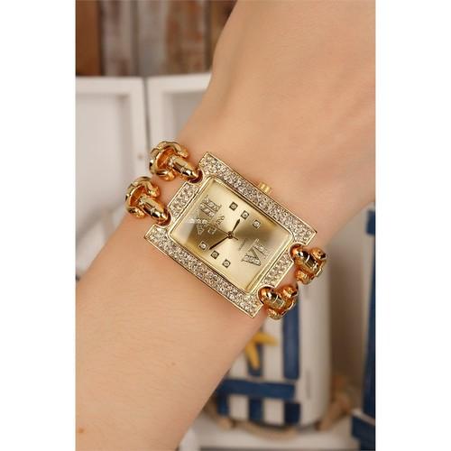 Morvizyon Clariss Marka Sarı Kaplama Metal Kordon Tasarımlı Şık Bayan Saat Modeli