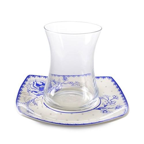 LoveQ 12 Parça Lüx Gül Motifli Çay Bardağı