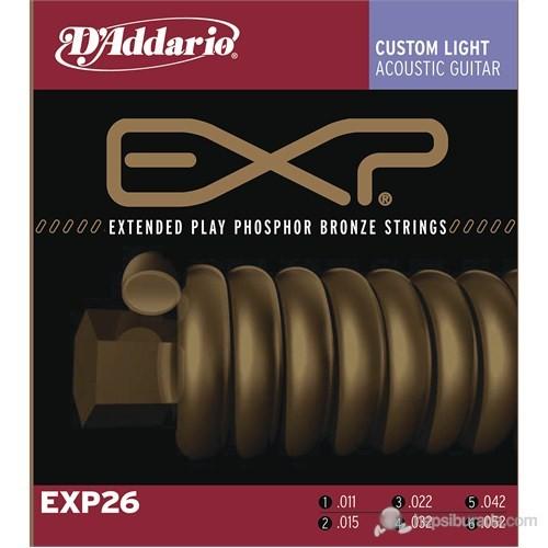 Daddario Exp26 - Custom Light Akustik Gitar Takım Tel 011