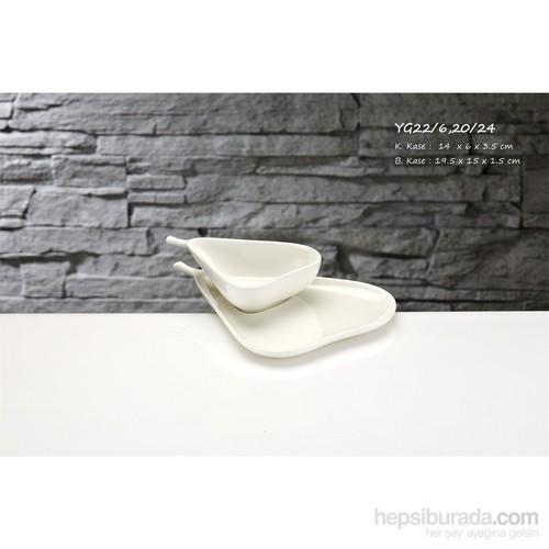iHouse Yg22 Porselen 2 Li Armut Kase Beyaz