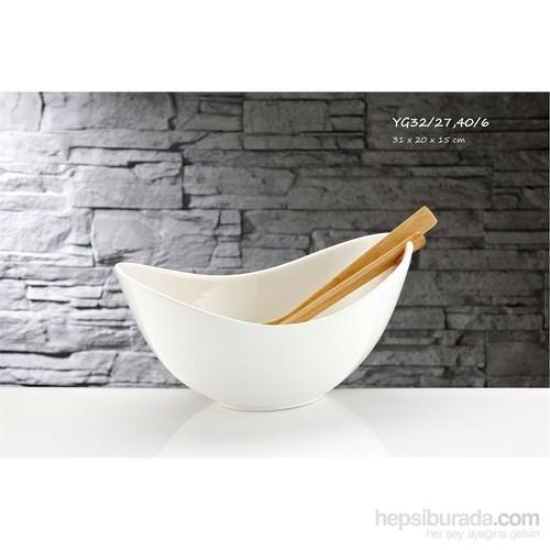 iHouse Yg32 Porselen Salata Kasesi Beyaz