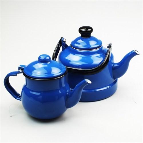 Evo Retro Emaye Çaydanlık Takımı Mavi Küçük Boy
