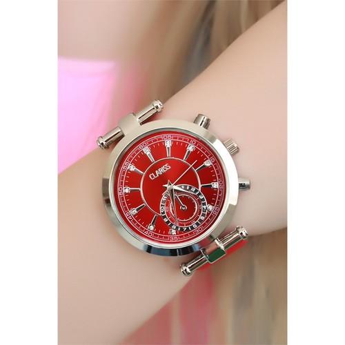 Morvizyon Clariss Marka Kırmızı Süet Kordonlu Bayan Saat