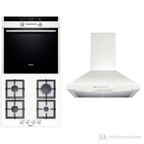 Siemens 3'lü Beyaz Ankastre Set III (HB43GR240 Fırın + EP612PB21O Ocak + LC64WA221 Davlumbaz)