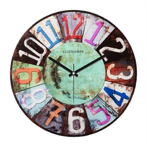 Clockmaker By Cadran Retro Vintage 30X30 Mdf Duvar Saati Cmm91