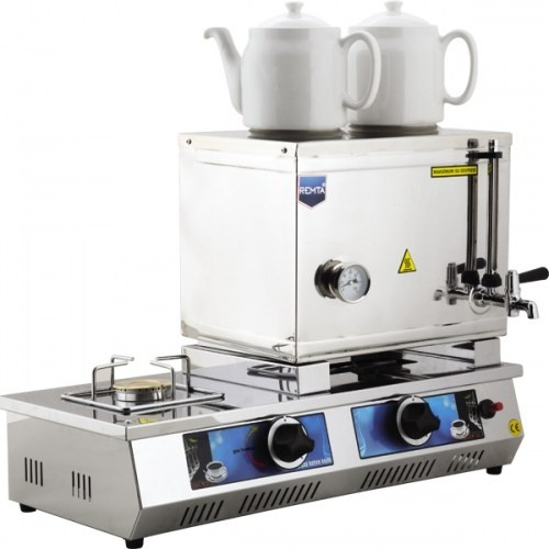 30 Model Çift Demlikli Doğalgazlı Ve Elektrikli Çay Kazanı 23Lt