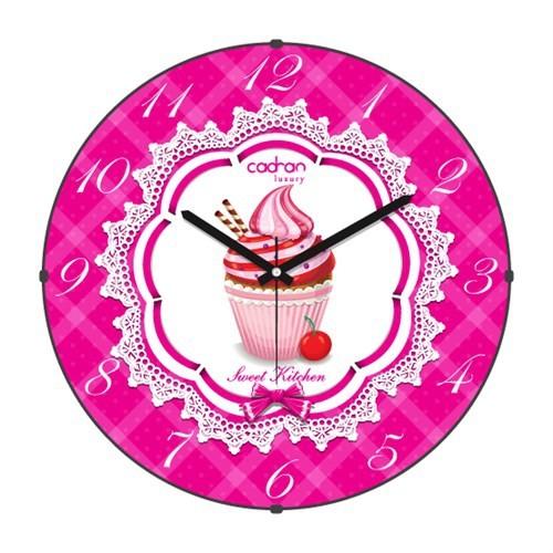 Cadran Luxury Sweet Kitchen Bombeli Cam Duvar Saati Cupcake-7
