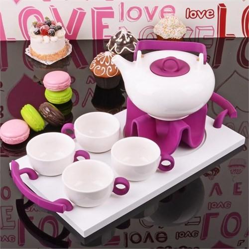İhouse5647 Porselen Tepsili Çay Seti Mor