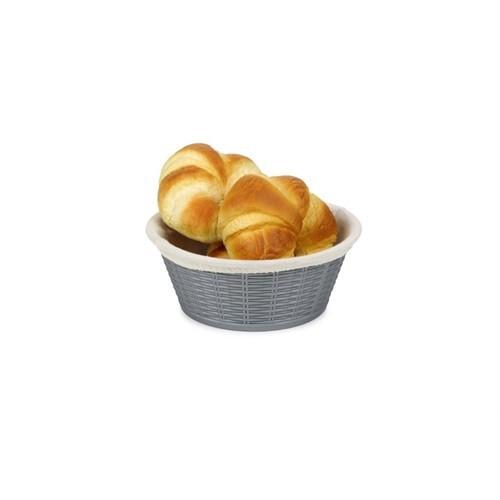 Bora Hasır Desenli Ekmek Sepeti Yuvarlak Bez Kaplamalı 19,5 Cm - Bo 660