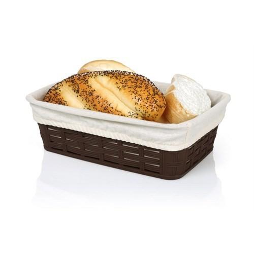 Bora Hasır Desenli Ekmek Sepeti Köşeli Bez Kaplamalı - Bo 672