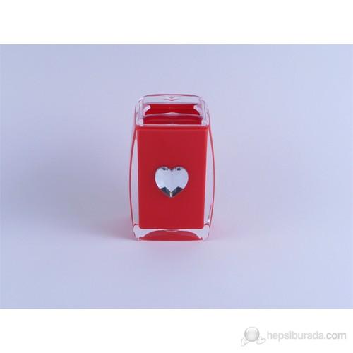 Kırmızı Kalpli Akrilik Diş Fırçalık