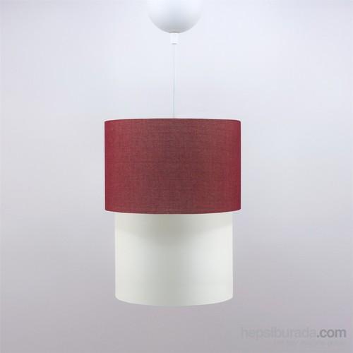 Crea Lighting Doubleshade Small Sarkıt(20Cm)/Keten/Kırmızı