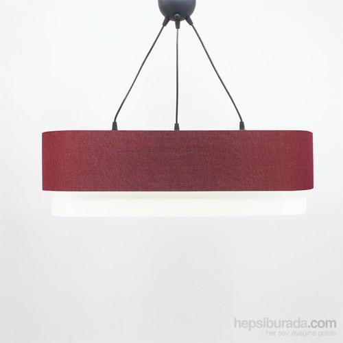 Crea Lighting Doubleshade Oval Sarkıt(70Cm-3 Ampul)Keten/Kırmızı