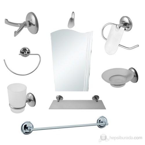 9 Parça Krom Banyo Ayna Seti (Bayrak Ayna)