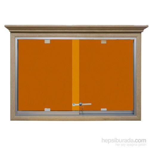 Akyazı 60x90 Ahşap Camekanlı Kumaşlı Pano (Turuncu)