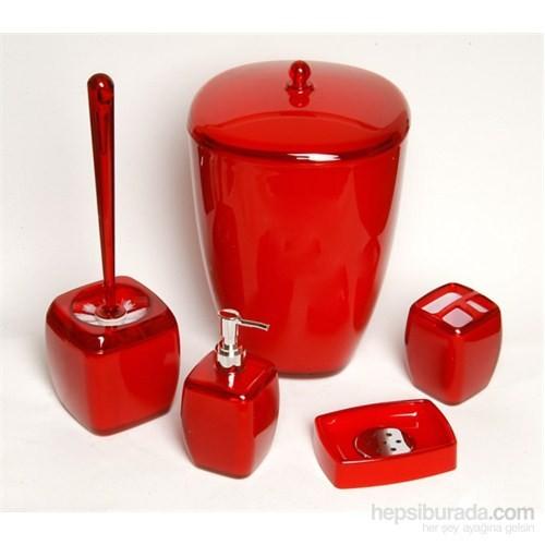 Kosova 5 Li Akrilik Kırmızı Banyo Seti-Pby003