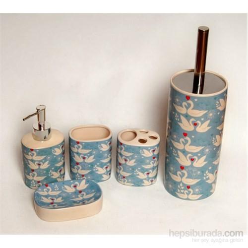 5 Li Seramik Banyo Seti-Kuğulu
