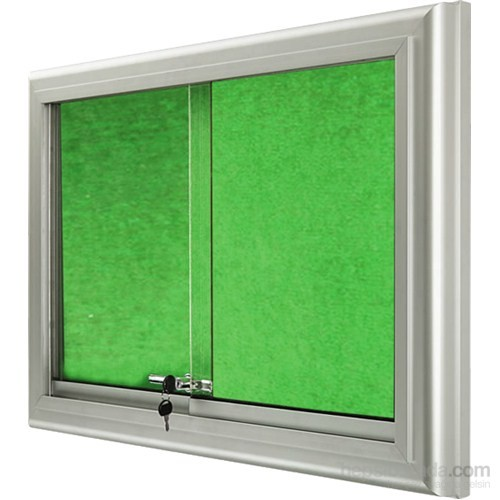 Akyazı 90x120 Alüminyum Camekanlı Kumaşlı Pano (Yeşil)