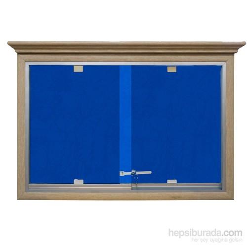 Akyazı 60x90 Ahşap Camekanlı Kumaşlı Pano (Mavi)