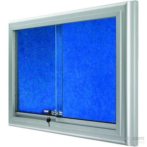Akyazı 90x150 Alüminyum Camekanlı Kumaşlı Pano (Mavi)
