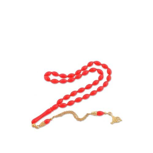 Olivin Accesories Gümüş Tuğra Püskül Kırmızı Sıkma Kehribar Tesbih 610040