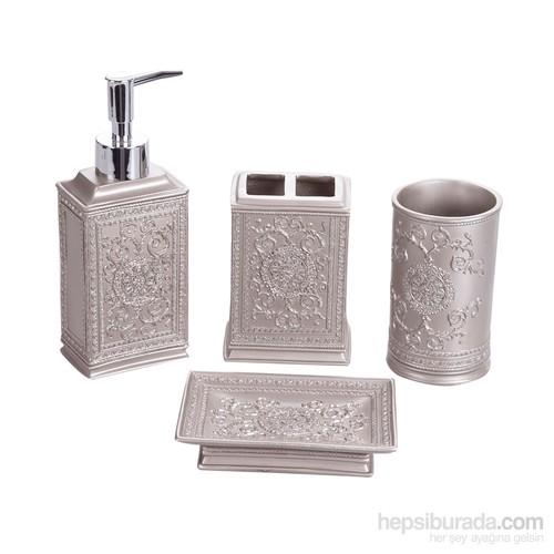 Bosphorus Dekoratif İşlemeli Gümüş Poliresin Banyo Set