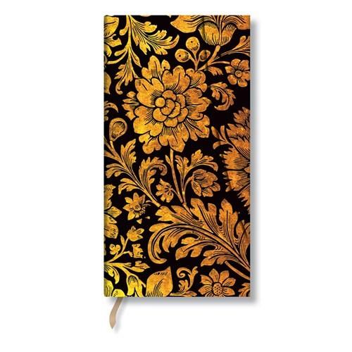 Paperblanks 4-713-X Midnight Gold Slim-Çizgili (Slim – 90 x 180 mm. 128 Sf)