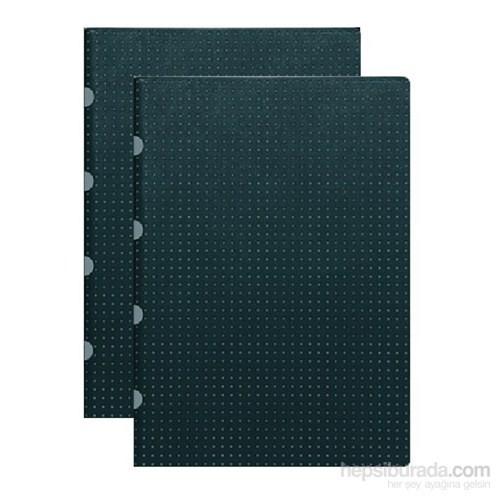 Paper-Oh 9179-0 Twin A5 Çizgisiz Black On Grey Defter