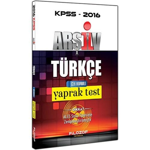 Filozof Yayınları Kpss 2016 Arşiv Türkçe Çek Koparlı Yaprak Test