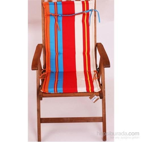 Yastıkminder Koton Çift Kademeli Turkuaz Kırmızı Çizgili Sandalye Minderi