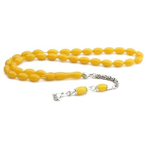 Tesbihane Arpa Kesim Sarı Renk Sıkma Kehribar Tesbih (Özel İşçilik)