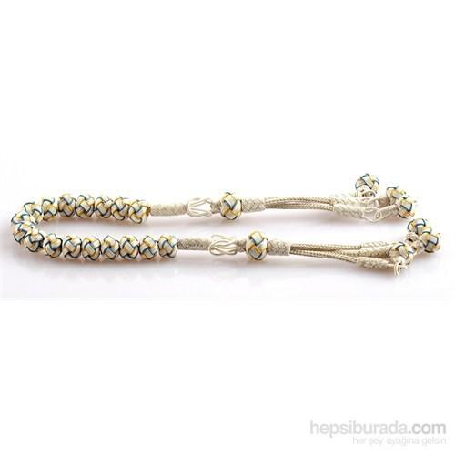 Yörem 1000 Ayar Gümüş Kazaz Örme Sarı Lacivert Zaza Gümüş Tesbih