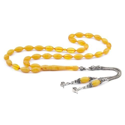 Tesbihane 925 Ayar Gümüş Tuğra Püsküllü Sarı Sıkma Kehribar Tesbih