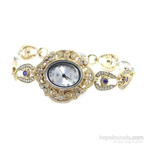 Dhamany Gül Desenli Oval Bayan Gümüş Saat