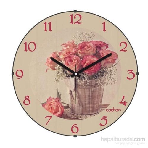 Cadran 140-29 Retro Vintage Bombeli Cam Duvar Saati Çiçekler-3