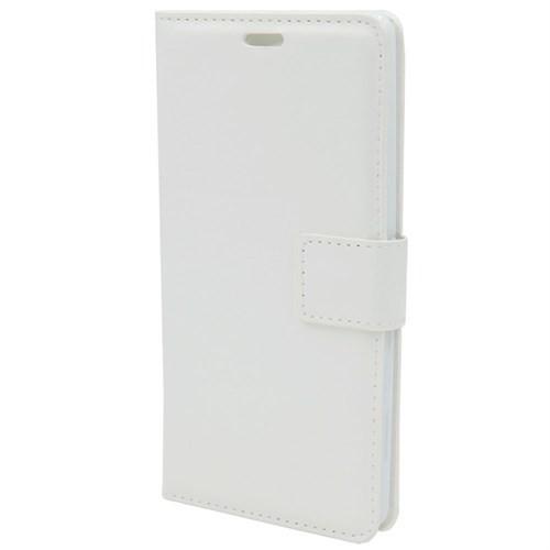 Kny Apple İphone 6 Plus-6S Plus Cüzdanlı Kapaklı Kılıf Beyaz+Cam