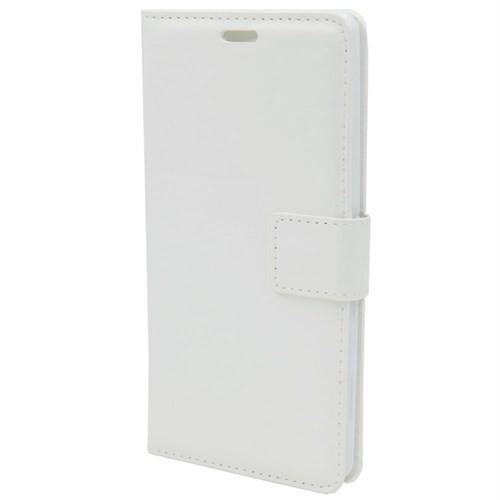 Kny Samsung Galaxy S4 Mini İ9190 Cüzdanlı Kapaklı Kılıf Beyaz+Cam