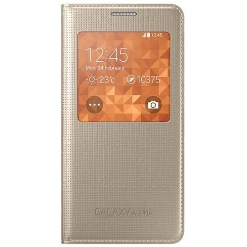 Samsung Galaxy Alpha S-View Kapaklı Kılıf Silver EF-CG850BWEGWW